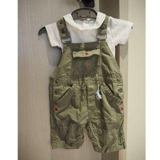 嬰幼兒包屁衣(一件)跟吊帶短褲 (2件)12M