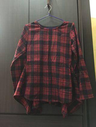 (二手)紅色格子長袖腰身裙