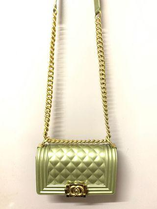 Chanel Toy Boy Gold Sling Bag authentic
