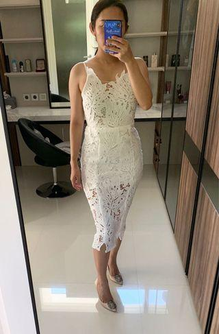 Brokat white midi dress
