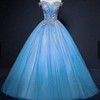 gaun biru prewedding ballgown - gaun mc -gaun singer - gaun pesta - gaun promnight - sister gown