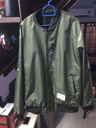Green Bomber Jacket and Puma jacket