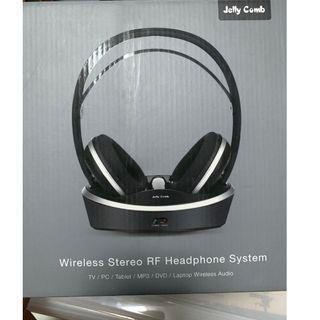 Brand New! Jelly Comb Wireless Stereo RF Over Ear Headphone System w/ Charging Dock