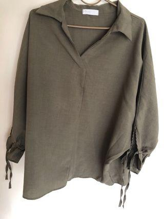 🚚 Forest green oversized ulzzang formal top