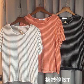 [現貨] 基本款棉紗條紋圓領T恤-黑/白/橘