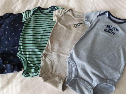 4 pieces (+1 free) for $6 Carter's Baby Boy Rompers/Body Suits (Free Mailing)