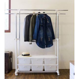 A~大容量收納六抽雙桿伸縮衣架/掛衣架/曬衣架/衣物收納