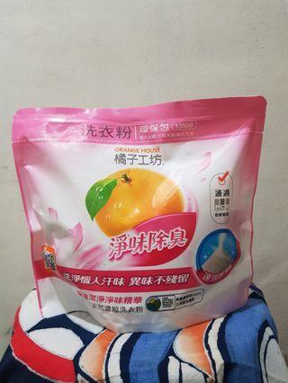 含運 橘子工坊天然濃縮洗衣粉環保包-淨味除臭(1350g )