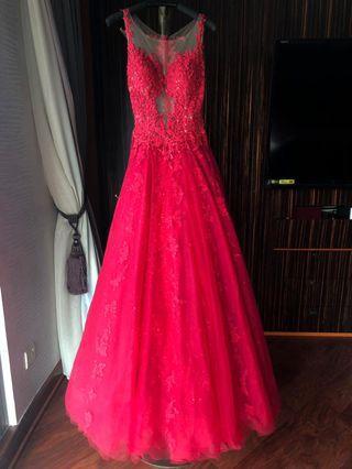 全新 全手工 lace鏽花 6層網紗高貴晚裝 Formal dress 去ball 晚禮服 婚宴 高貴優雅