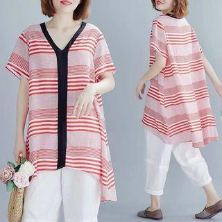 Plus Size Front Short and Long Regular Striped V-neck T-Shirt Fashion Medium Long Top