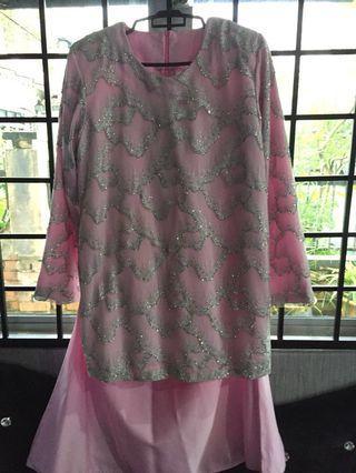 Pink Bling satin Tailor-Made Baju Kurung