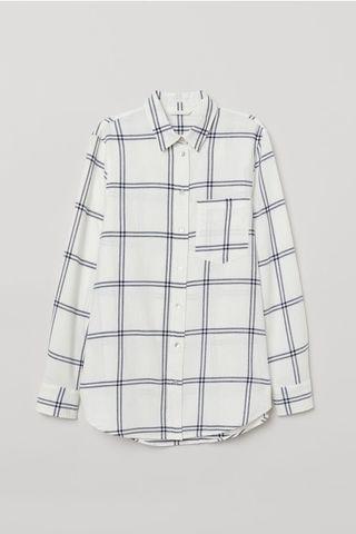 H&M Checkered Shirt in White