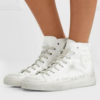 SAINT LAURENT Bedford logo-appliqued distressed leather high-top sneakers (NP)