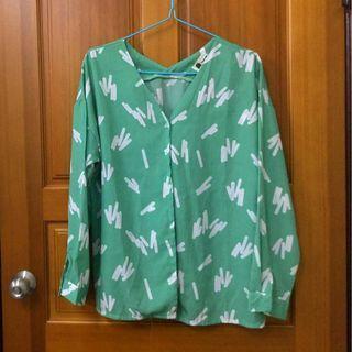 【二手】綠色雪紡襯衫