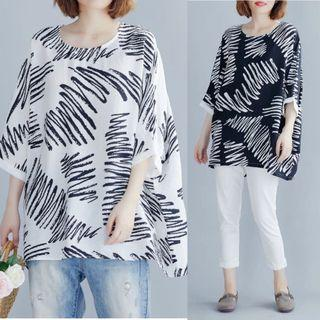 Plus Size Irregular Short Sleeve Large Round Neck T-Shirt Striped Summer Print Turtleneck Top