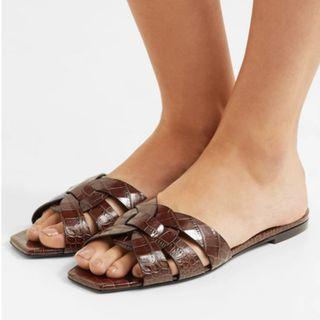 SAINT LAURENT Nu Pieds croc-effect leather slides (NP)