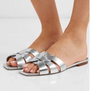SAINT LAURENT Nu Pieds woven metallic leather slides (NP)