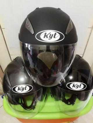 Helm KYT GALAXY DOUBLE VISOR HALF FACE BLACK DOFF, BLACK METALIK, GREY
