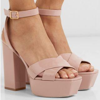 SAINT LAURENT Farrah patent-leather platform sandals (NP)