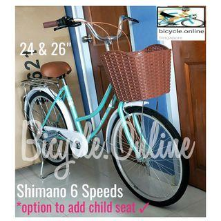 """New colour!  24 & 26"""" City Cruiser Bike * Shimano 6Speeds  * Brand new HARRIS bicycle *add $49 to install rear child seat (Taiwan)"""