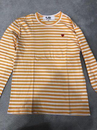 CDG Yellow Long Sleeve Striped Shirt