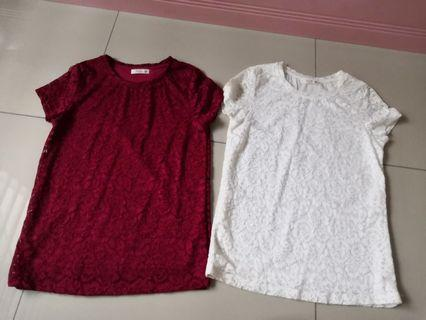 [2 for RM25] White/Red Laced Tee