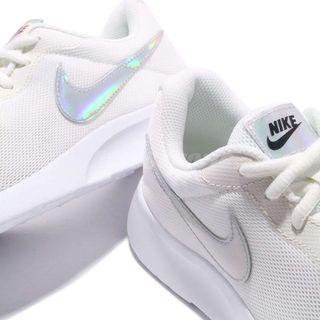 Nike Tanjun White Sneakers with Holographic Logo