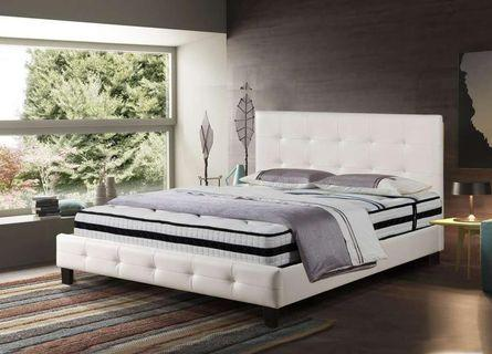 White or black air leather bed frame affordable cheap! and looks great mega sale!
