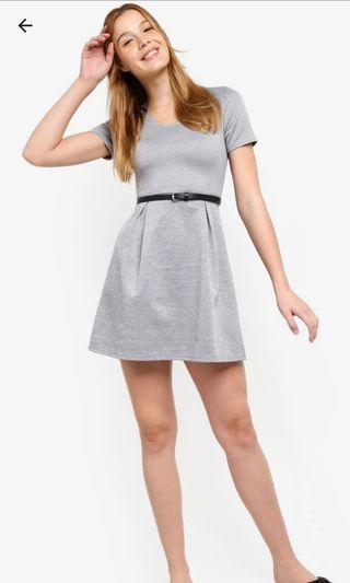 ZALORA Basic Grey Flare Dress