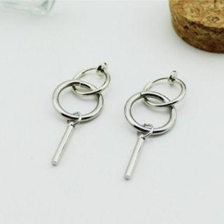 1 PAIR Ring and Bar Drop Earrings / Clip On (PO)