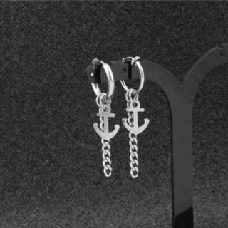 [2 for $7] Anchor and Chain Drop Earrings / Clip On (PO)