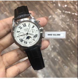 絕版鐵達時藍寶石鏡面皮革自動機械錶,全新原廠正貨有保養