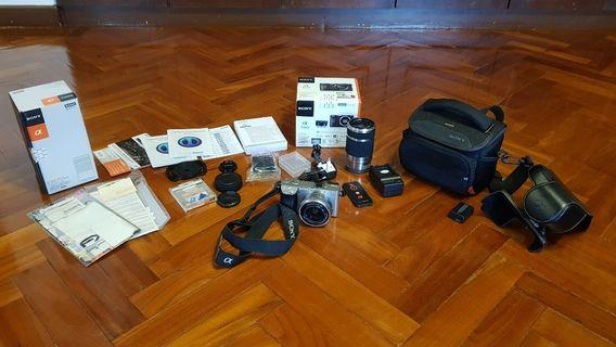 Sony Alpha 6000 large set with 2 lenses and more!