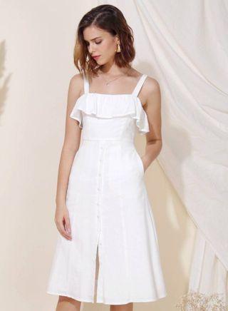 Eternal Ruffle Tier Midi Dress (White)