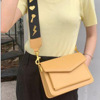 Genuine Leather Square Dual Strap Messenger Bag