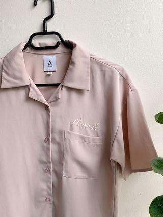 🚚 A for Arcade Kingpin Bowling Shirt (light pink)