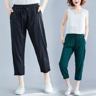 Solid color silk casual pants cropped trousers