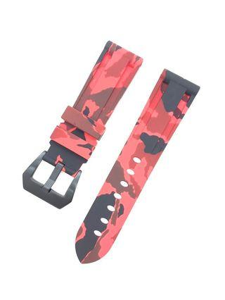 22mm Red Camouflage Silicon Rubber Watch Strap Watchband  With Black PVD Pre-V Buckle
