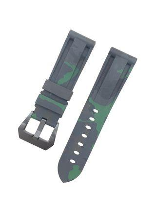 22mm Green Camouflage Silicon Rubber Watch Strap Watchband with Black PVD Pre-V Buckle