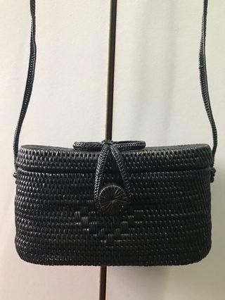 [USED] Square rattan sling bag