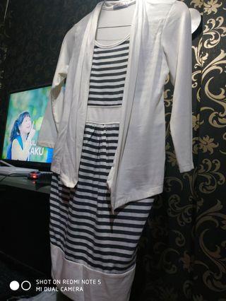 Dress kombinasi cardigan