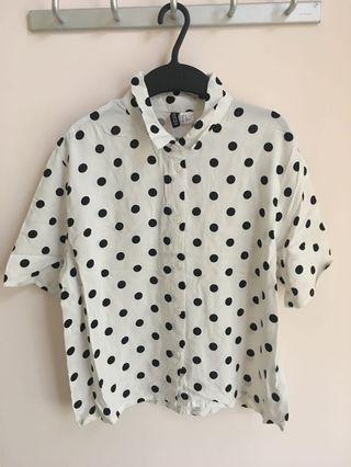 H&M 女裝黑白波點上衣(短衫)(原價$149)