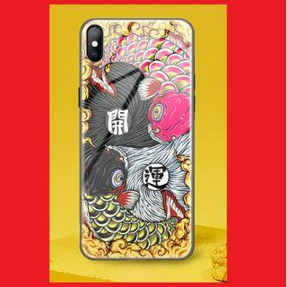 💥iPhone XS Tempered Glass Casing - 开运锦鲤💥