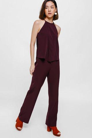 Lovebonito Padiona High Waist Pants in Maroon Size M