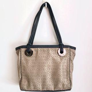 OROTON TAUPE AND NAVY MONOGRAM TOTE BAG