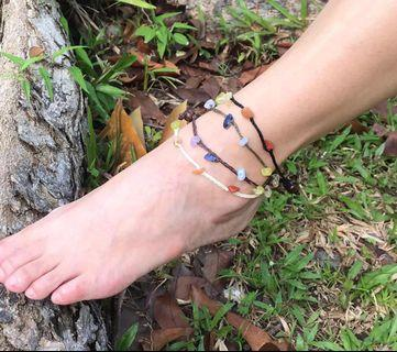 Anklet Crystal Rainbow 7 Chakras Brazilian Stone Chips Eco- Friendly Linen Cord Handmade