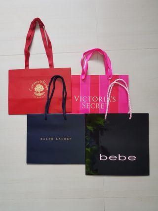 Victoria's Secret/ Crabtree & Evelyn/ Bebe and Ralph Lauren Paper Bags