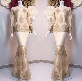 Gold Cream Lace Baju Kurung