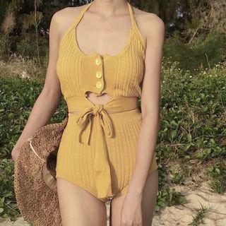 超韓三色針織泳衣