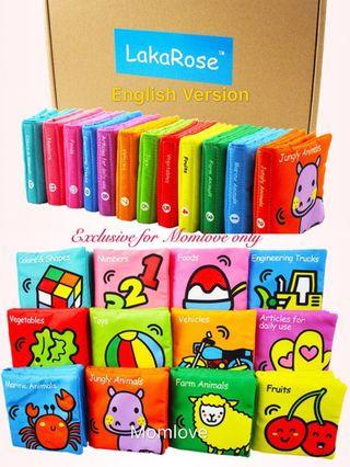 Ready Stock ! Brand New with Box Lakarose Rainbow Baby Infant Newborn Early Development Educational Colourful Cloth Books (Set of 12 books - English Version) *Baby Shower Full-moon Gift Present)